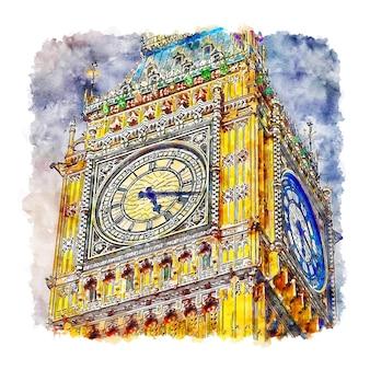 Лондон соединенное королевство акварельный эскиз рисованной иллюстрации
