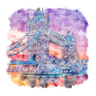 London united kingdom watercolor sketch hand drawn illustration