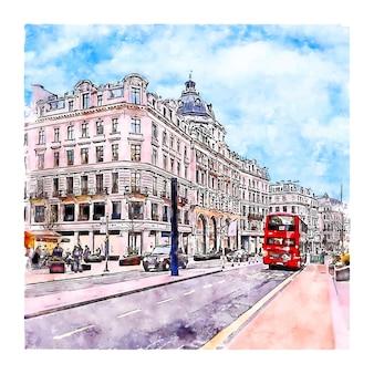ロンドンイギリス水彩スケッチ手描きイラスト