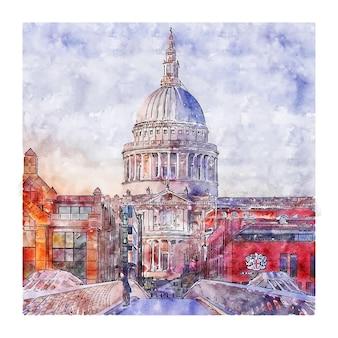 런던 영국 수채화 스케치 손으로 그린