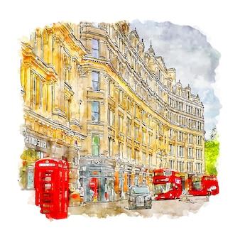 런던 영국 수채화 스케치