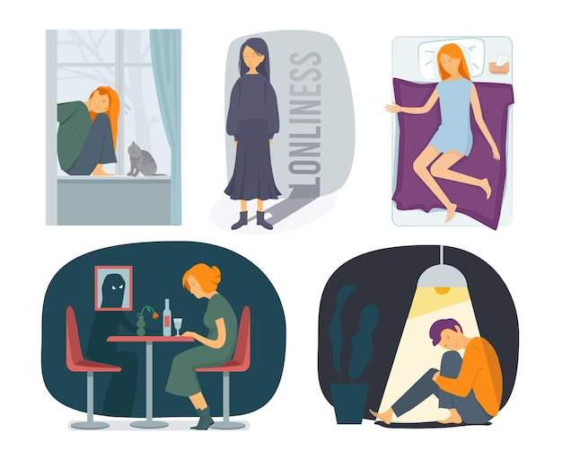 Loneliness characters. stressed depressed people bad psychical rain at soul fearfully woman emotion vector visualization. depression loneliness, alone person illustration