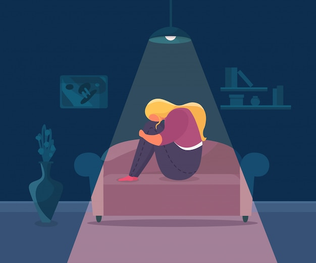 Девушка подавленная одиночеством, иллюстрация. женщина грустный характер в одиночку и стресс дома, несчастный человек с расстроенными эмоциями.