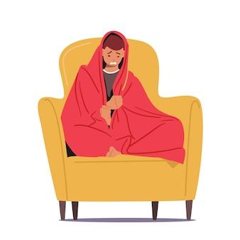 외로움, 절망, 좌절, 삶의 문제 개념. 젊은 우울 화가 절망적인 남자 캐릭터 소파에 앉아
