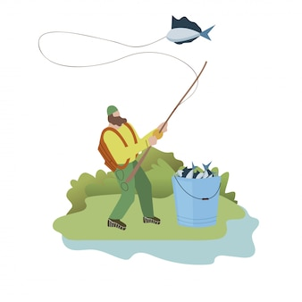 Lonely fisher weekend flat vector illustration