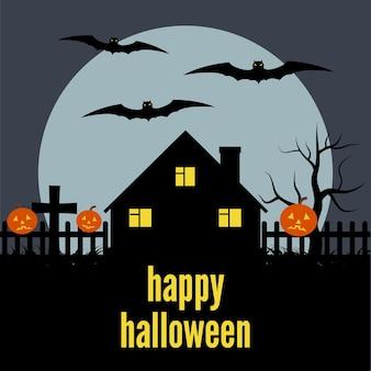 Одинокий дом на фоне луны и надписи happy halloween. векторная иллюстрация