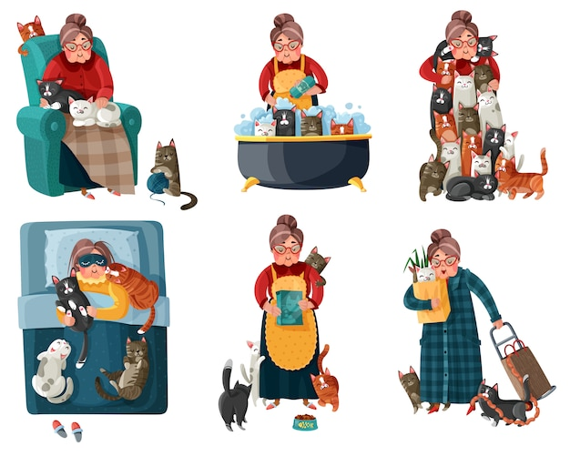 Lonely lady with cats set