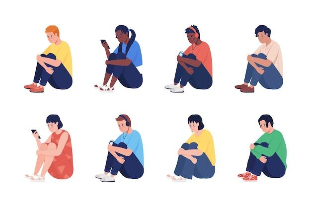 孤独な悲しいティーンエイジャーセミフラットカラーベクトル文字セット。座っている姿。白の全身の人々。ティーンは、グラフィックデザインとアニメーションコレクションのための孤立した現代の漫画スタイルのイラストを発行します
