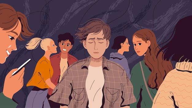 孤独で、彼に気づかない人々の群衆の中で苦しんでいる人。