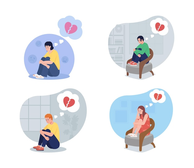 Lonely teen upset over breakup 2d isolated illustration set
