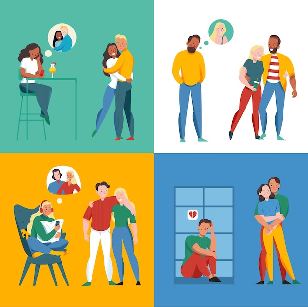 Lonely and together concept icons set with relationship symbols flat isolated illustration