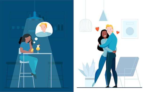 Lonely and together love set with affection symbols flat isolated illustration