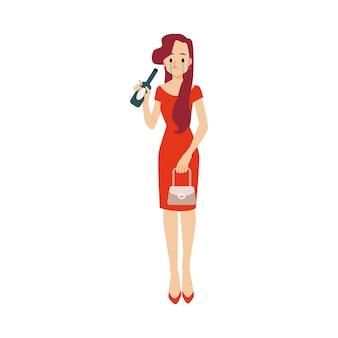うつ病や人間関係の崩壊のボトルと孤独な不幸な酔った女性