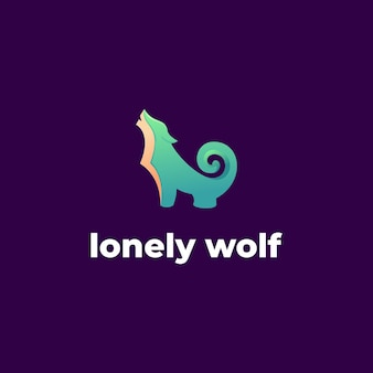 Lonely wolf logo vector template