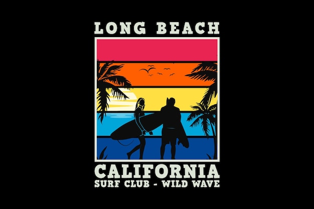 Long beach california, design sleety retro style