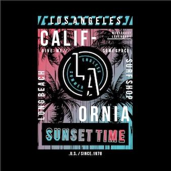 인쇄 t 셔츠 그래픽을위한 롱 비치 캘리포니아 타이포그래피 디자인