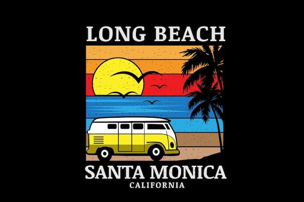 롱 비치 산타 모니카 캘리포니아 컬러 오렌지 옐로우, 블루