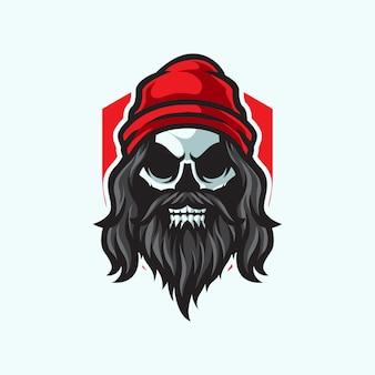 長いひげの頭蓋骨のマスコットのロゴ