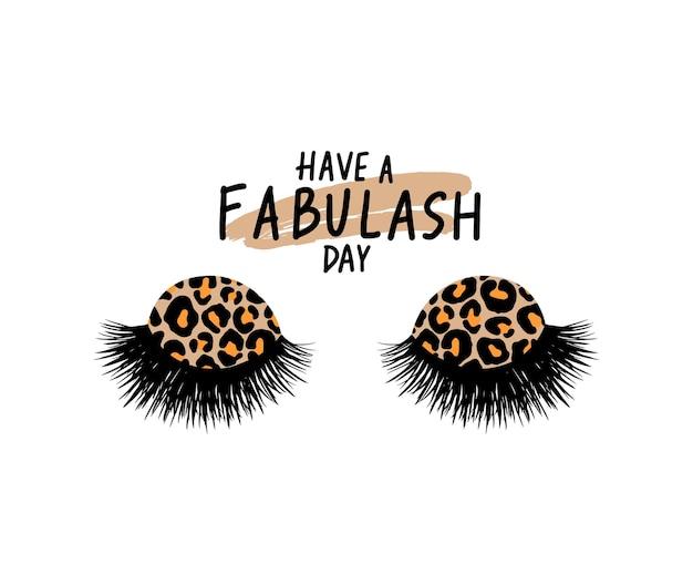 Long black lashes  illustration. leopard print eyeshadow. beautiful eyelashes isolated on white. for beauty salon, lash extensions maker. closed eyes. fashion illustration.