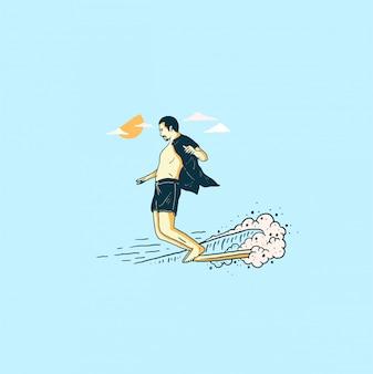 Long board surfing illustration