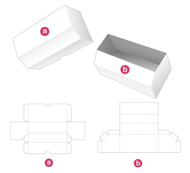長い面取りボックスと蓋のダイカットテンプレート