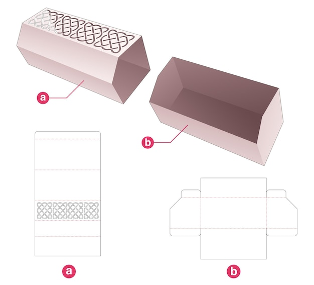 Long chamfered tray with cover which has stenciled pattern die cut template