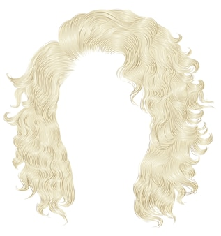 Long curly hairs  blond  colors .