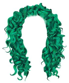 Длинные вьющиеся волоски зеленого цвета. красота мода стиль. парик.