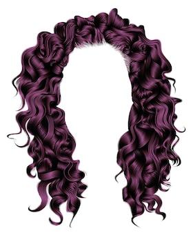긴 곱슬 머리카락은 자주색입니다. 뷰티 패션 스타일. 가발.