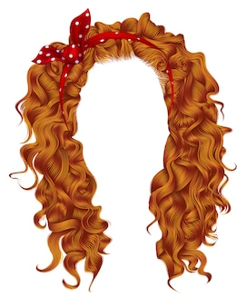 Длинные вьющиеся волосы с красным бантом. цвета .