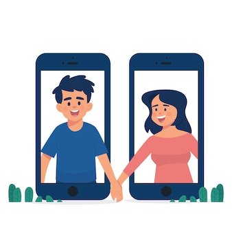 Long distance relationship concept couple holding hands between two phones