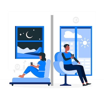 Long distance relationship concept illustration