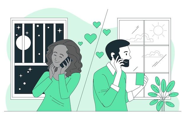 Long distance relationshipconcept illustration