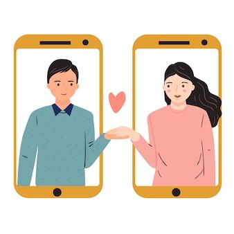 長距離関係の概念。若い男性と女性が別の電話で手を繋いでいます。トレンディな手描きのベクトル図です。