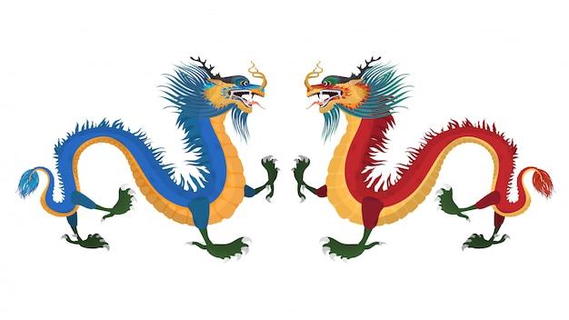 Длинные драконы на белом фоне. иллюстрация запаса восточно-азиатских драконов. символ китая высокая детализация хорошо подходит для разработки китайских тематических баннеров, открыток и футболок.