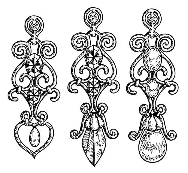 宝石をあしらった、さまざまな形の長いイヤリング。黒と白のジュエリー宝石。白い背景の上のイヤリングセット。いたずら書き。スケッチ