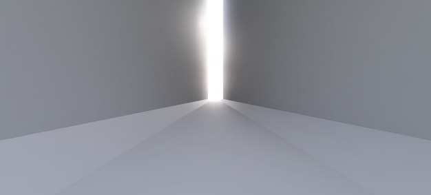 A long empty white corridor with rays of light at the end of the path