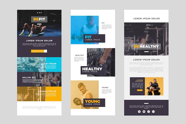 Long fitness email template with photos