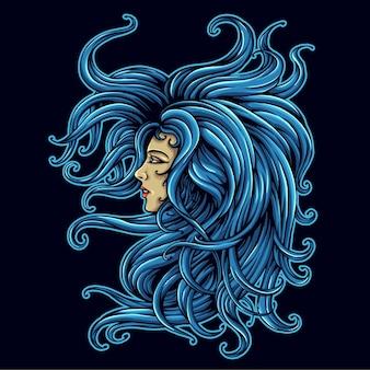 Long hair beautiful woman character