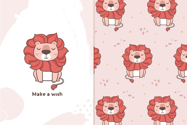 Long hair lion illustration and pattern