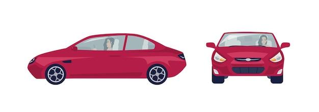 赤いセダン車を運転する長い髪のブルネットの女性
