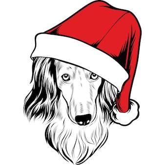 クリスマスのサンタ帽子の長い髪のダックスフント犬