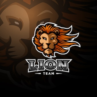 Long haired lion logo esport