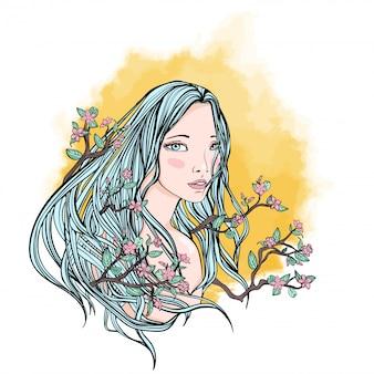 벚꽃의 가지와 꽃 사이에서 긴 머리의 여인, 자연과 자연의 아름다움의 상징.