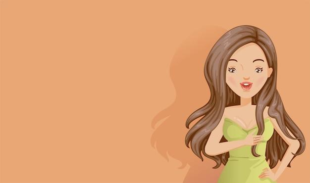 オレンジ色の背景に長い髪の女性。