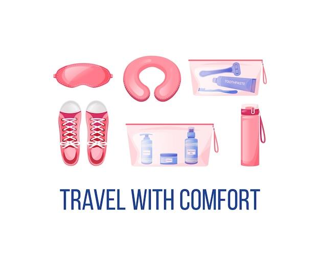 モックアップ後の長距離飛行の必需品ソーシャルメディア。快適なフレーズで旅行。 webバナーデザインテンプレート。ブースター、碑文のあるコンテンツレイアウト。ポスター、印刷広告、フラットなイラスト