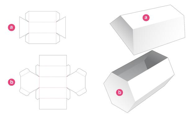 長い六角形のギフトボックスと蓋のダイカットテンプレート