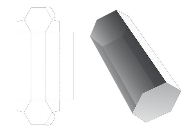 長い六角形のスナック容器ダイカットテンプレート