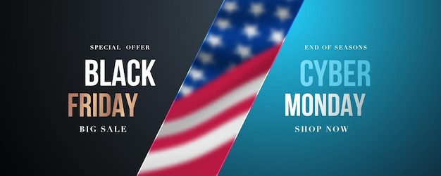 Long horizontal banner for black friday and cyber monday sale