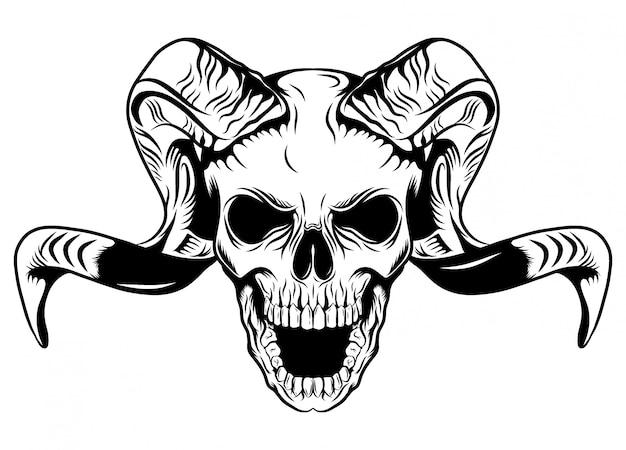 Long horned skull with white background of illustration